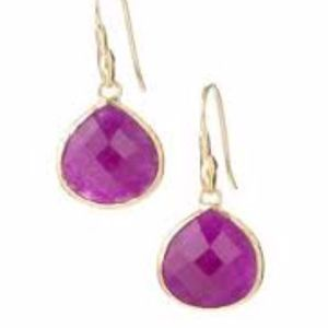 Serenity Small Stone Drops Earrings - Raspberry